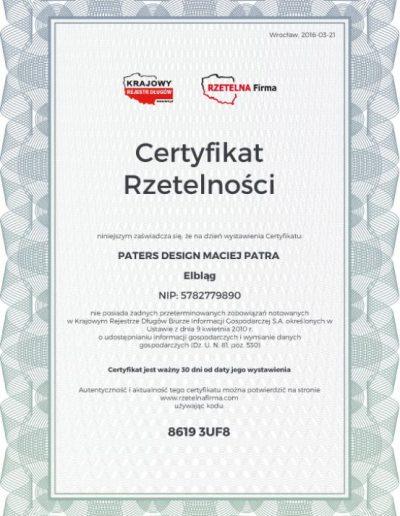 Najnowszy certyfikat rzetelności