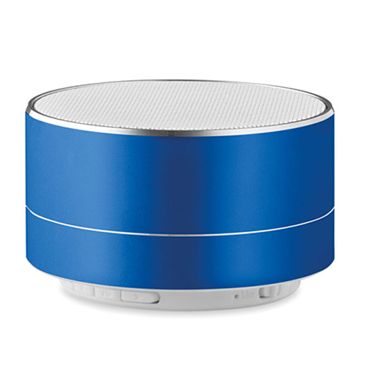 Niebieski głośnik z nadrukiem logo